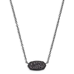 Kendra Scott Elisa Necklace Gunmetal/Black Druzy